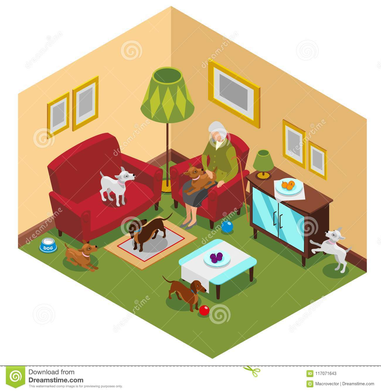 Vieille Madame Dogs Isometric Composition