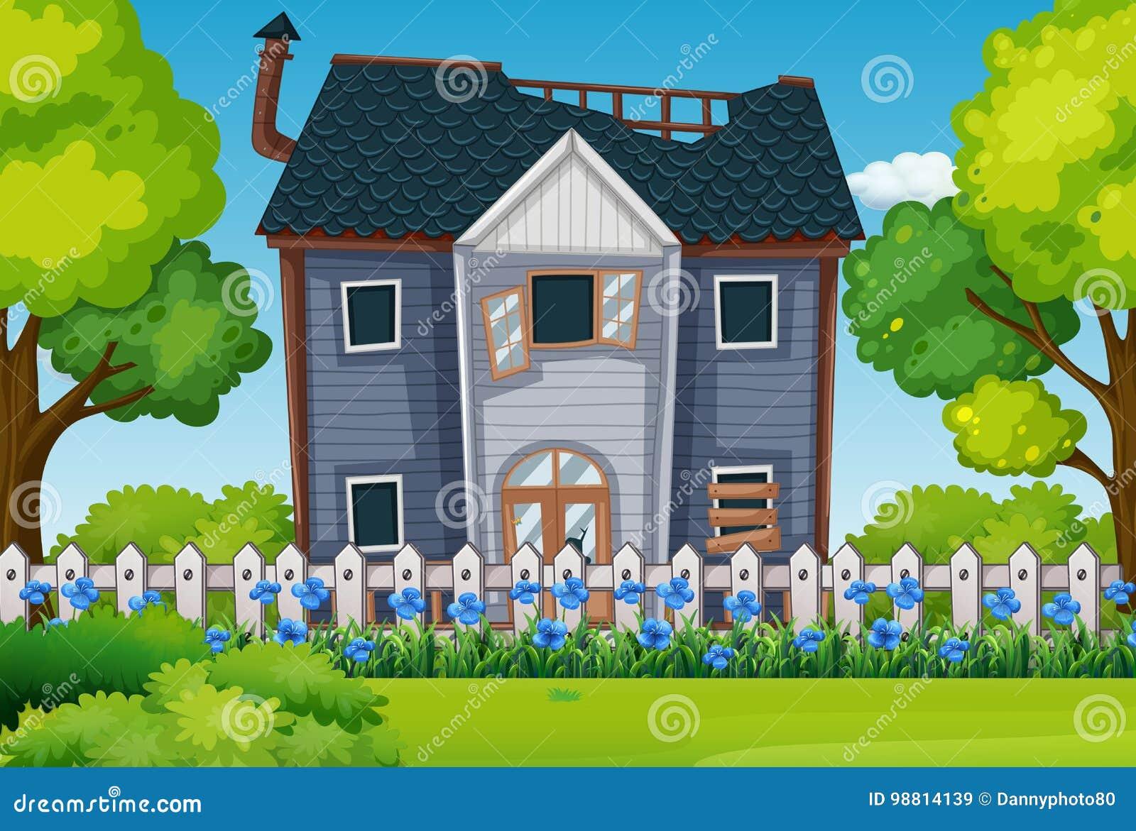 Vieille Maison Avec Le Beau Jardin Illustration De Vecteur