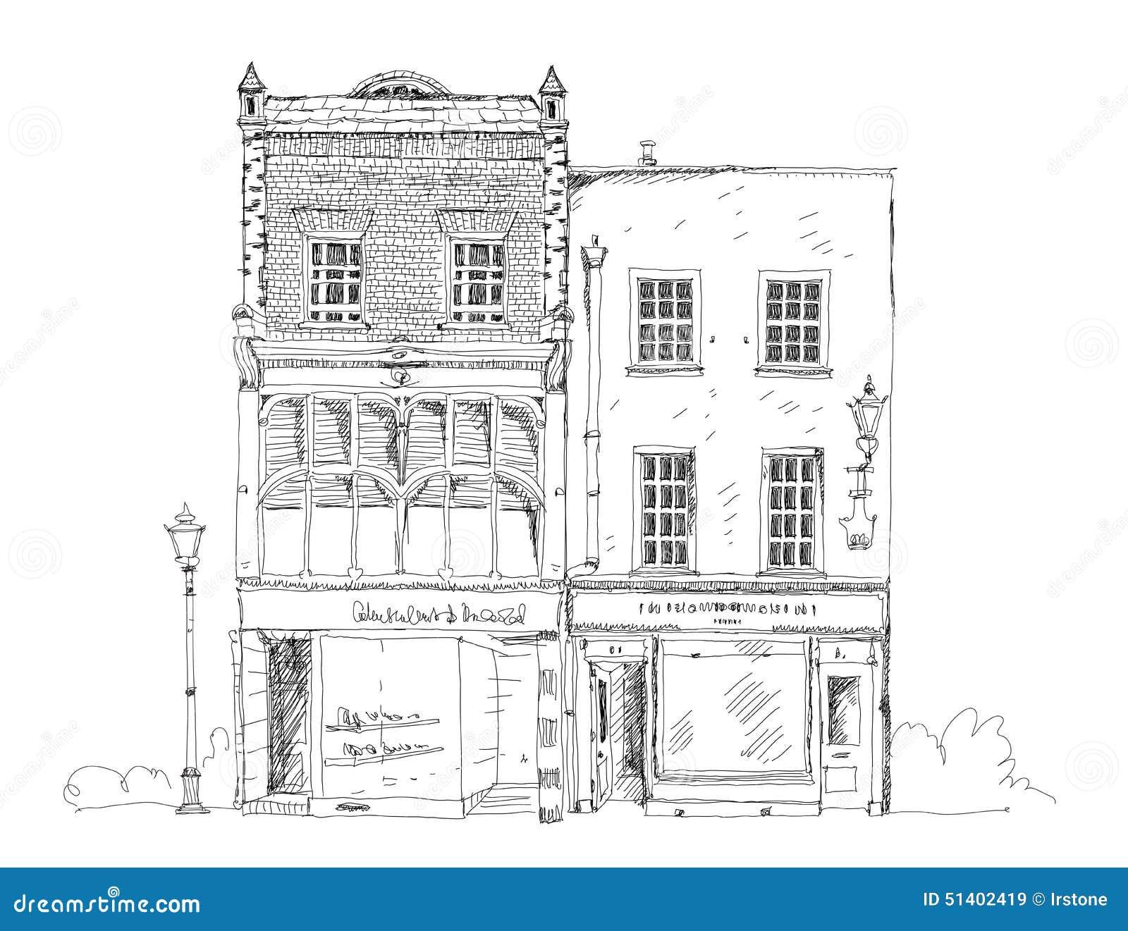 Vieille maison de ville anglaise avec la petite boutique for Croquis architecturaux de maisons
