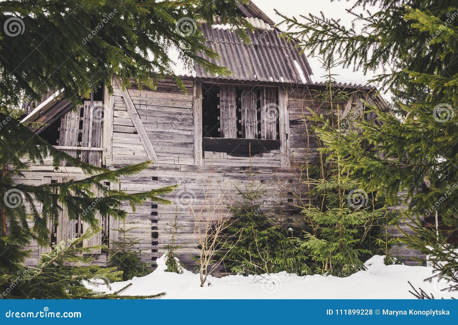 Vieille maison mystérieuse abandonnée dans la forêt