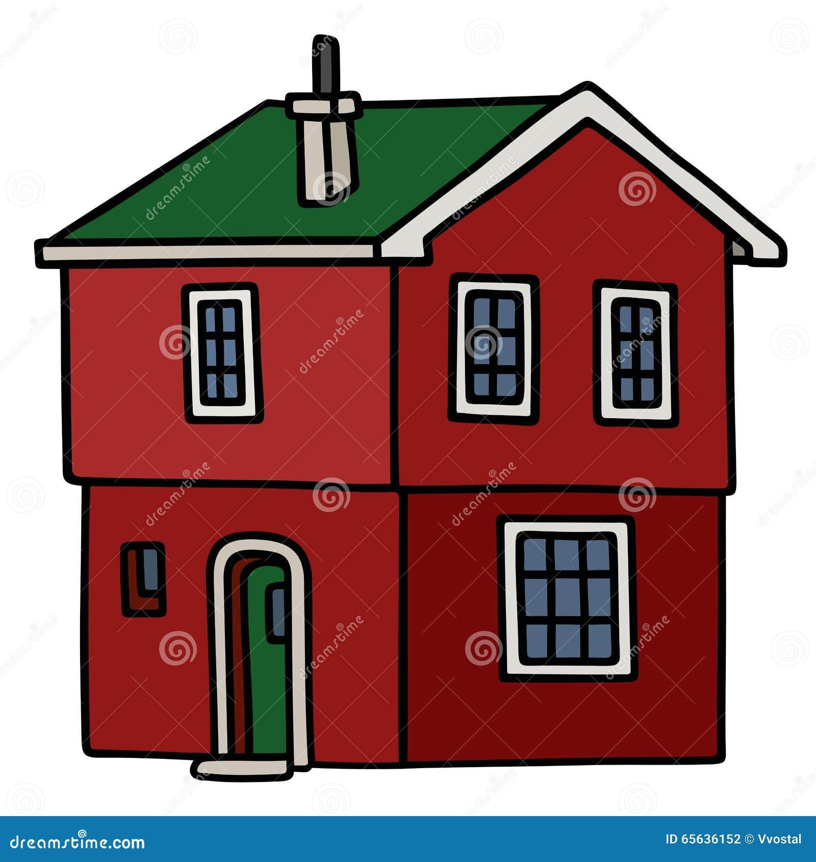 Vieille maison rouge foncé