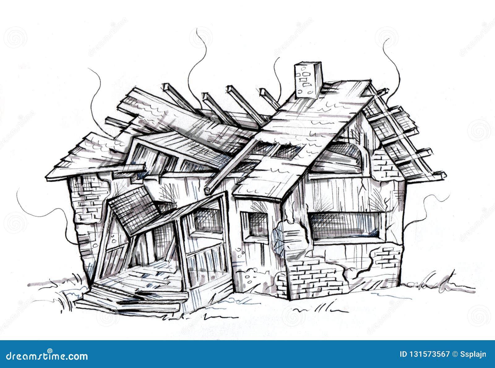 Maison En Ruine Dessin vieille maison ruinée détruit par l'incendie illustration