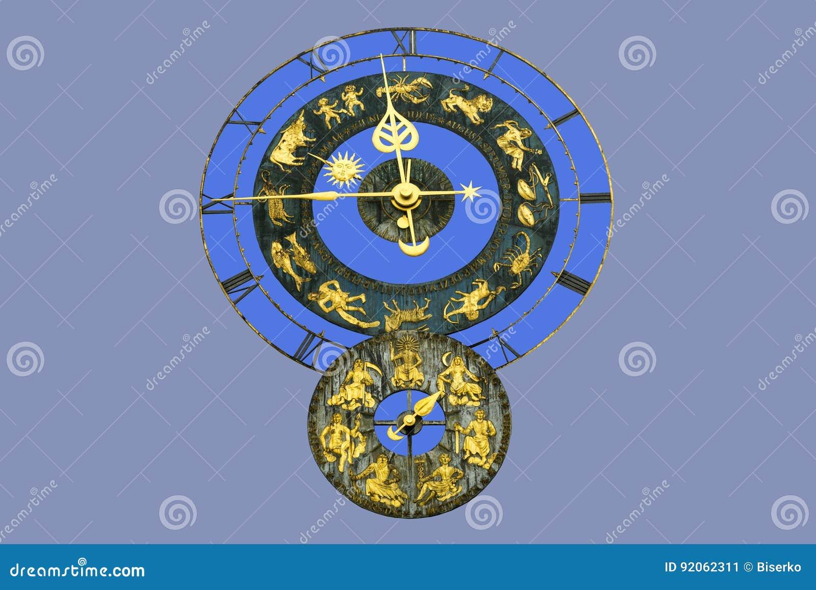Vieille montre avec des signes de zodiaque