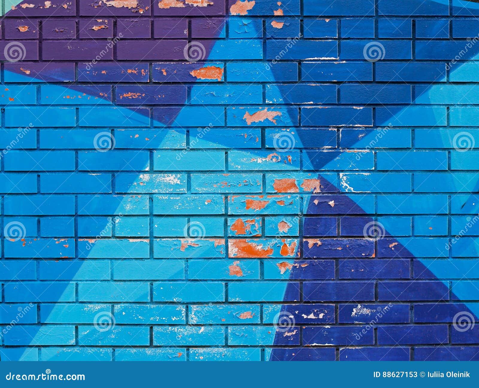 Vieille Peinture Bleue Colorée Avec Des Fissures Sur Le Mur