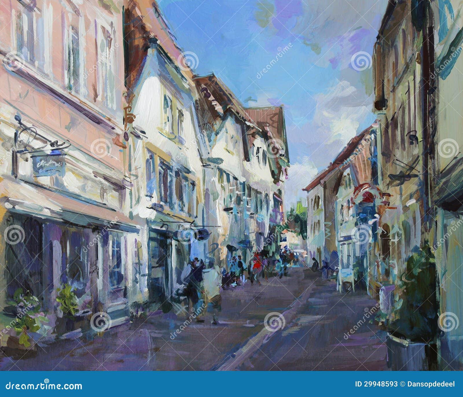 Vieille peinture de paysage de ville illustration stock for Paysage de ville