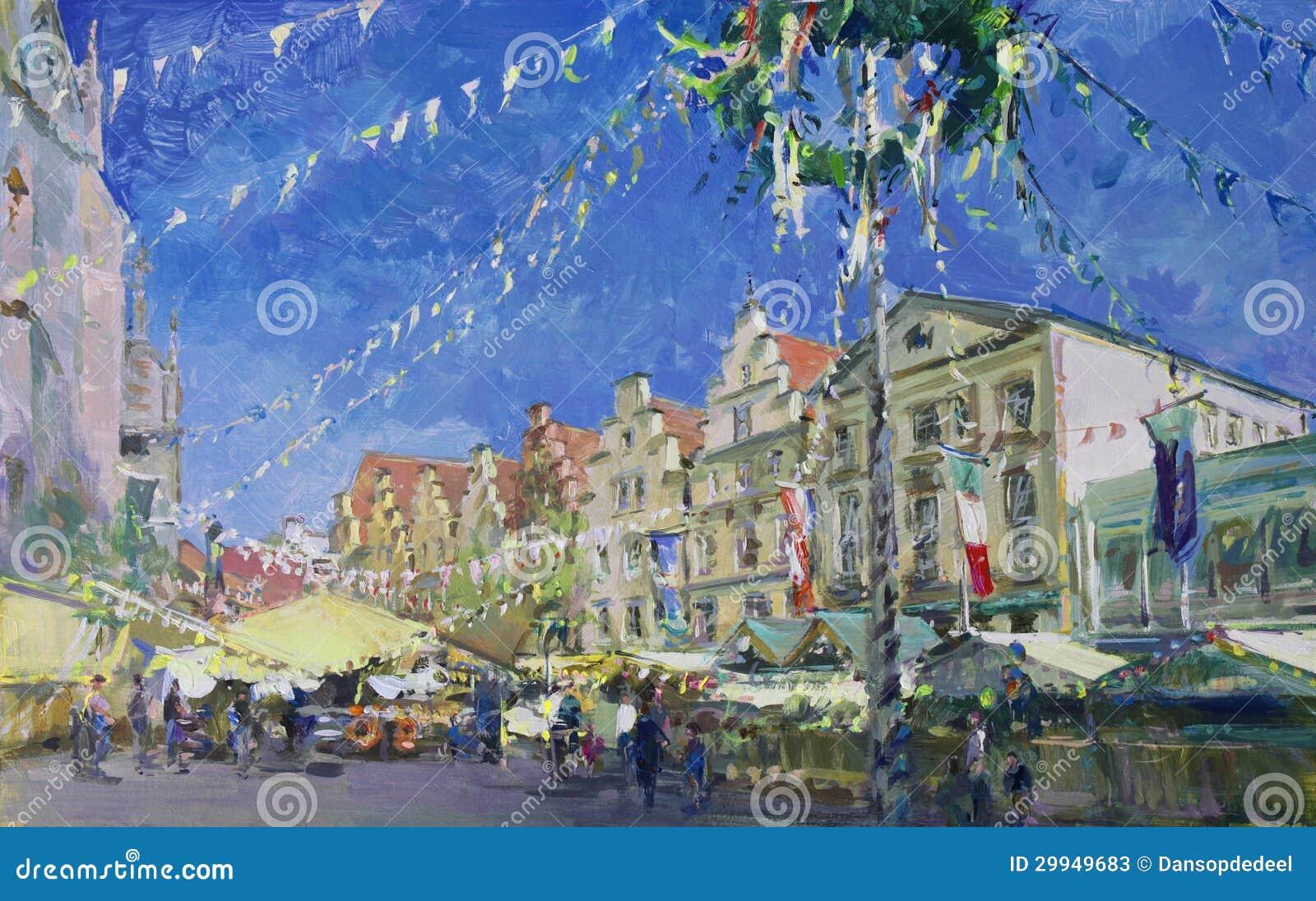 Vieille peinture de paysage de ville photos stock image for Paysage de ville