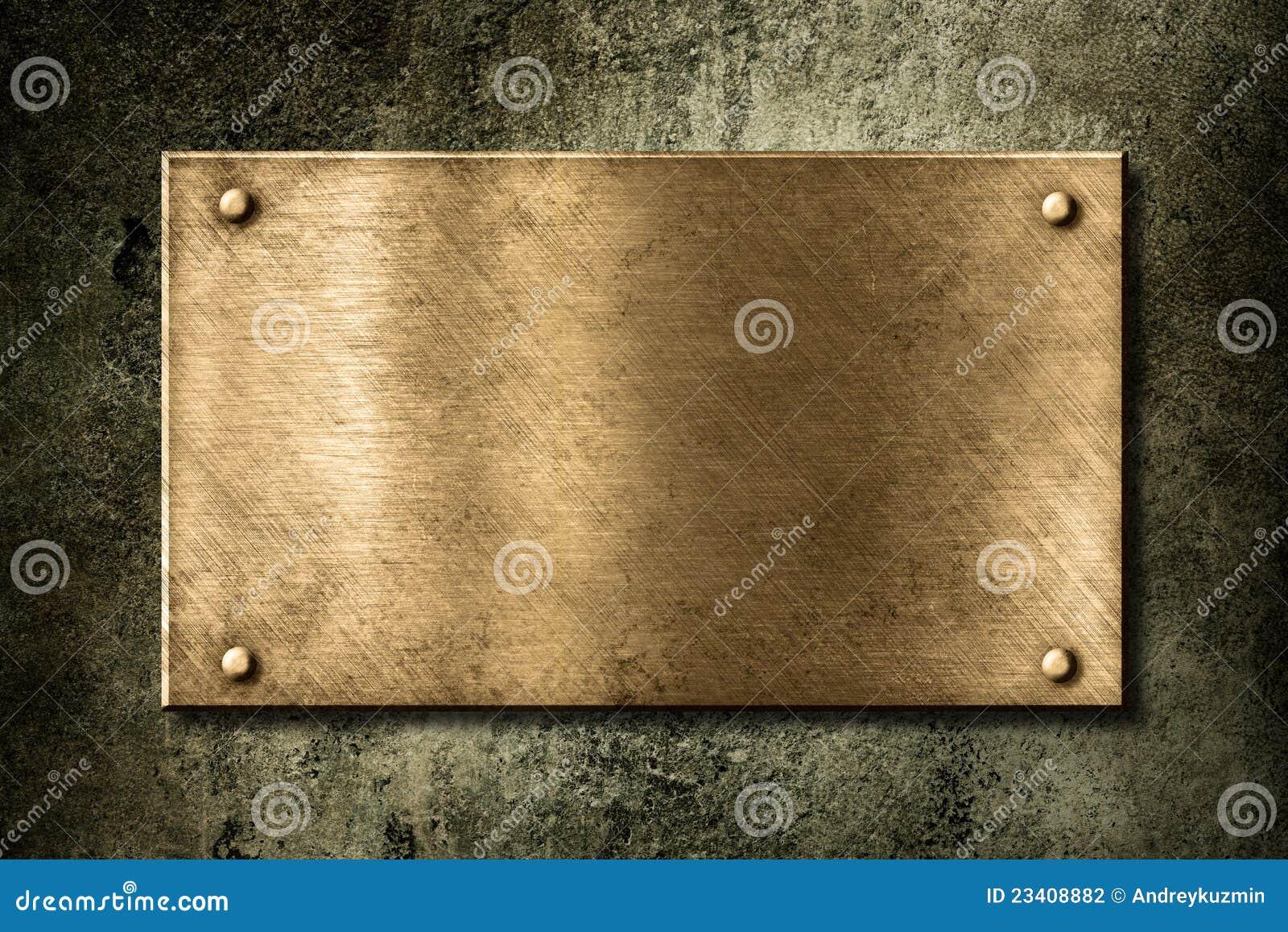 vieille plaque d 39 or ou en bronze sur le mur photo stock image du trame cadre 23408882. Black Bedroom Furniture Sets. Home Design Ideas