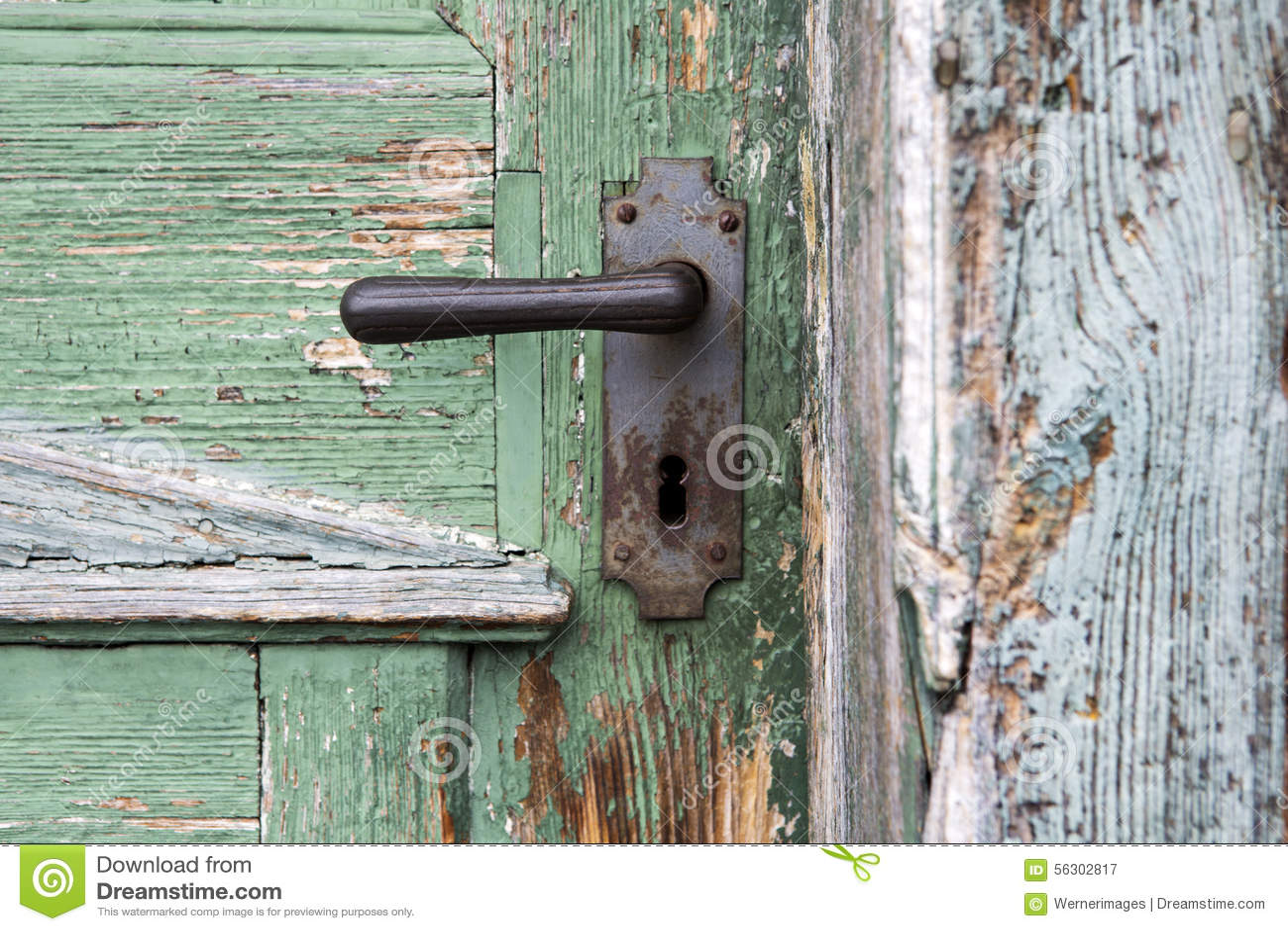 Vieille Porte D 39 Entr E En Bois Avec La Poign E De Porte