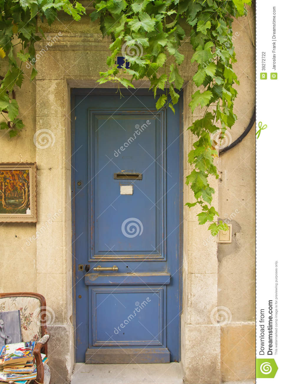 Vieille Porte D 39 Entr E En Bois Bleue Photo Stock Image 39272722