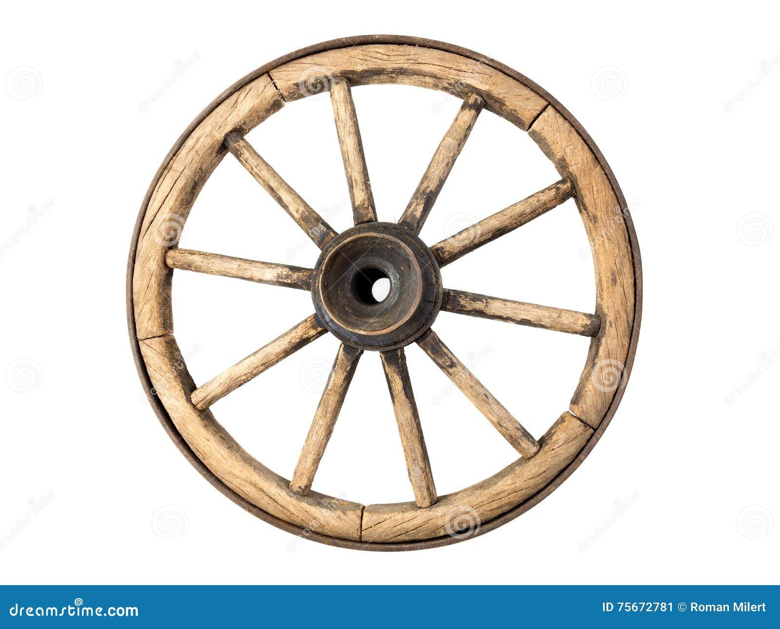 Vieille roue de chariot en bois