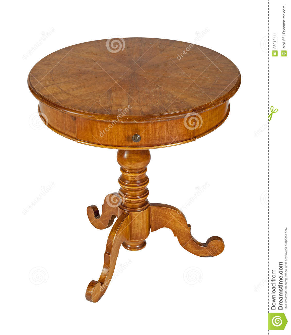 Vieille table ronde en bois sur le blanc image stock for Table ronde en bois