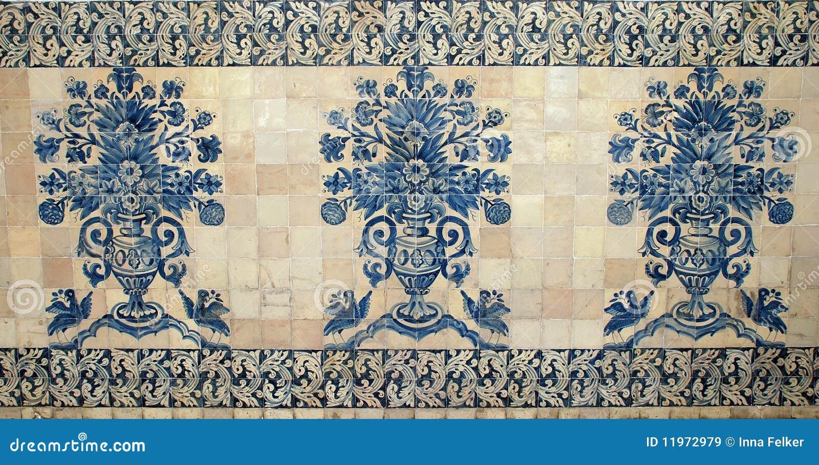 Vieille tuile de bleu du Portugal