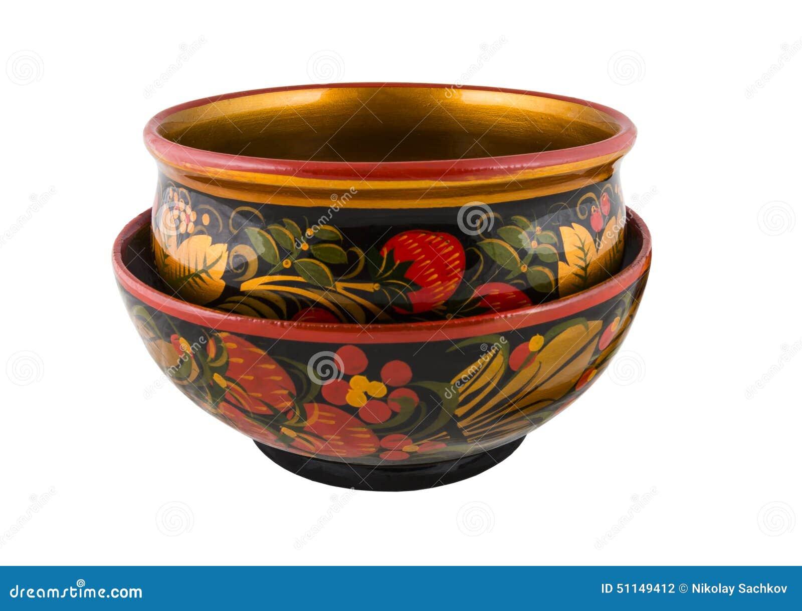 vieille vaisselle en bois de khokhloma de russe avec la. Black Bedroom Furniture Sets. Home Design Ideas