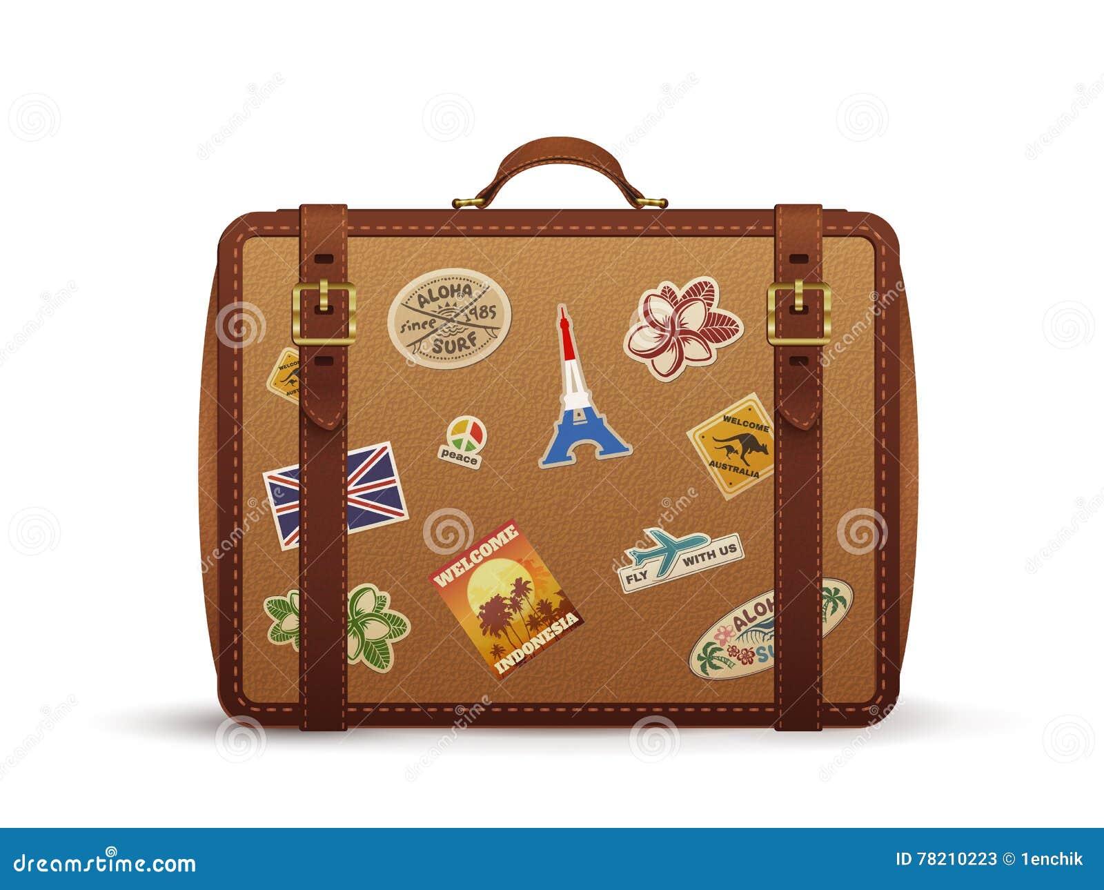 vieille valise de cuir de vintage avec des autocollants de voyage illustration de vecteur. Black Bedroom Furniture Sets. Home Design Ideas