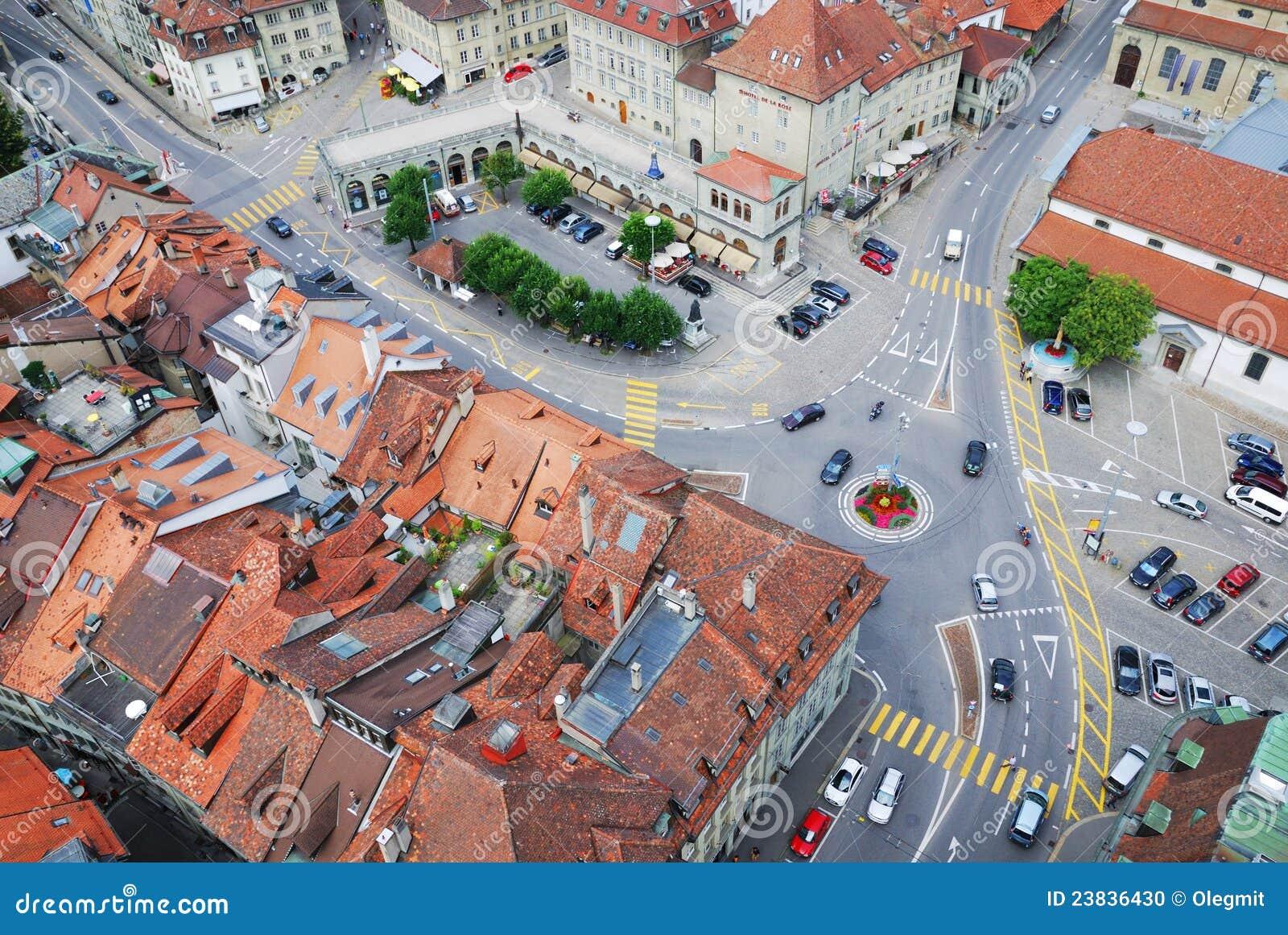 Vieille ville de fribourg de ci avant photo stock image for Piscine fribourg