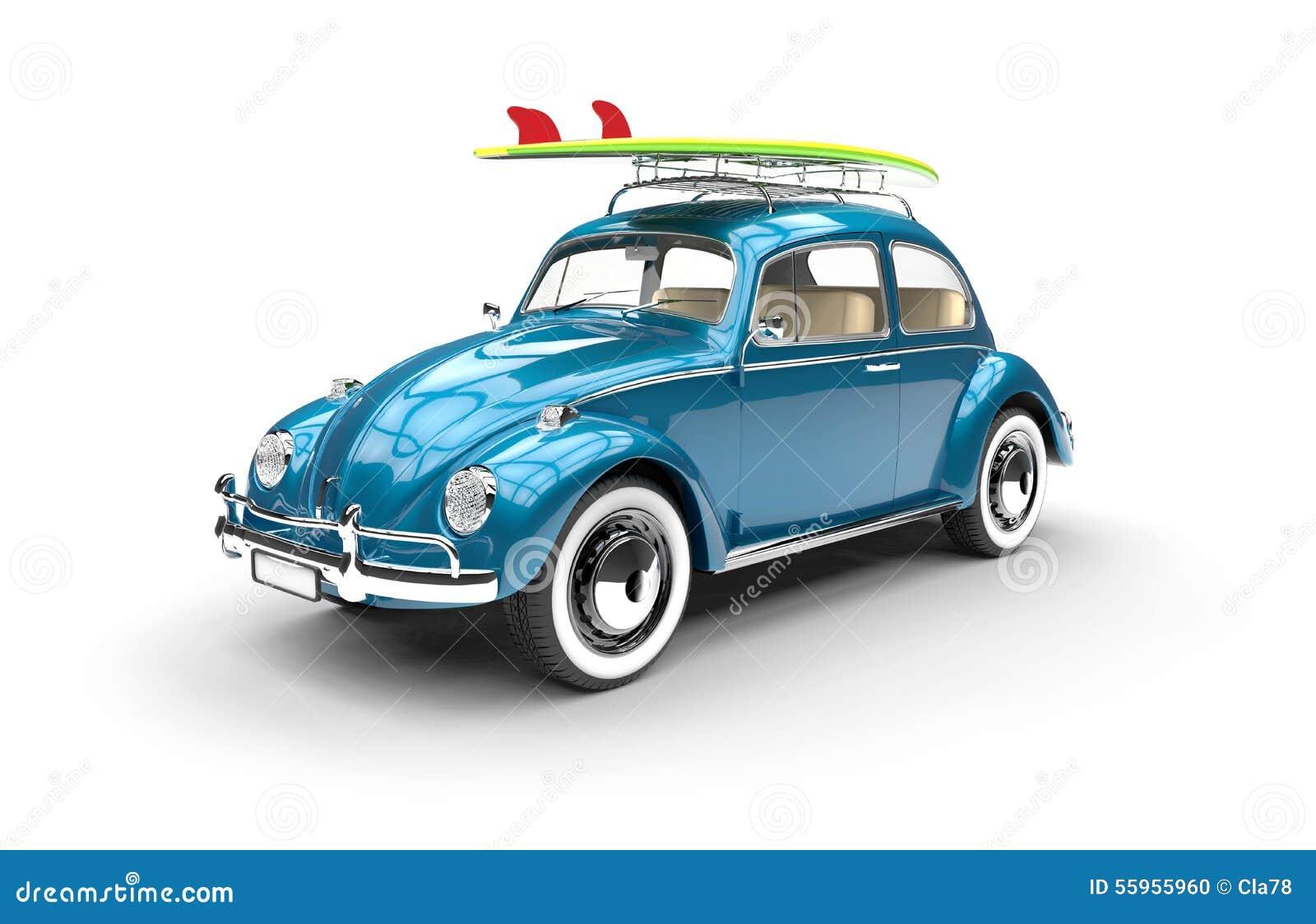vieille voiture bleue avec la planche de surf illustration stock illustration du pneu. Black Bedroom Furniture Sets. Home Design Ideas