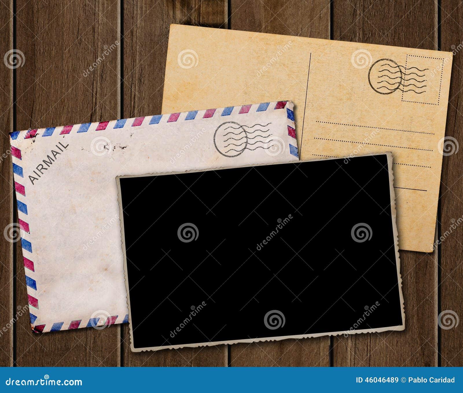Vieilles Carte Postale, Photo Et Enveloppe Illustration Stock - Illustration du blanc, poteau ...