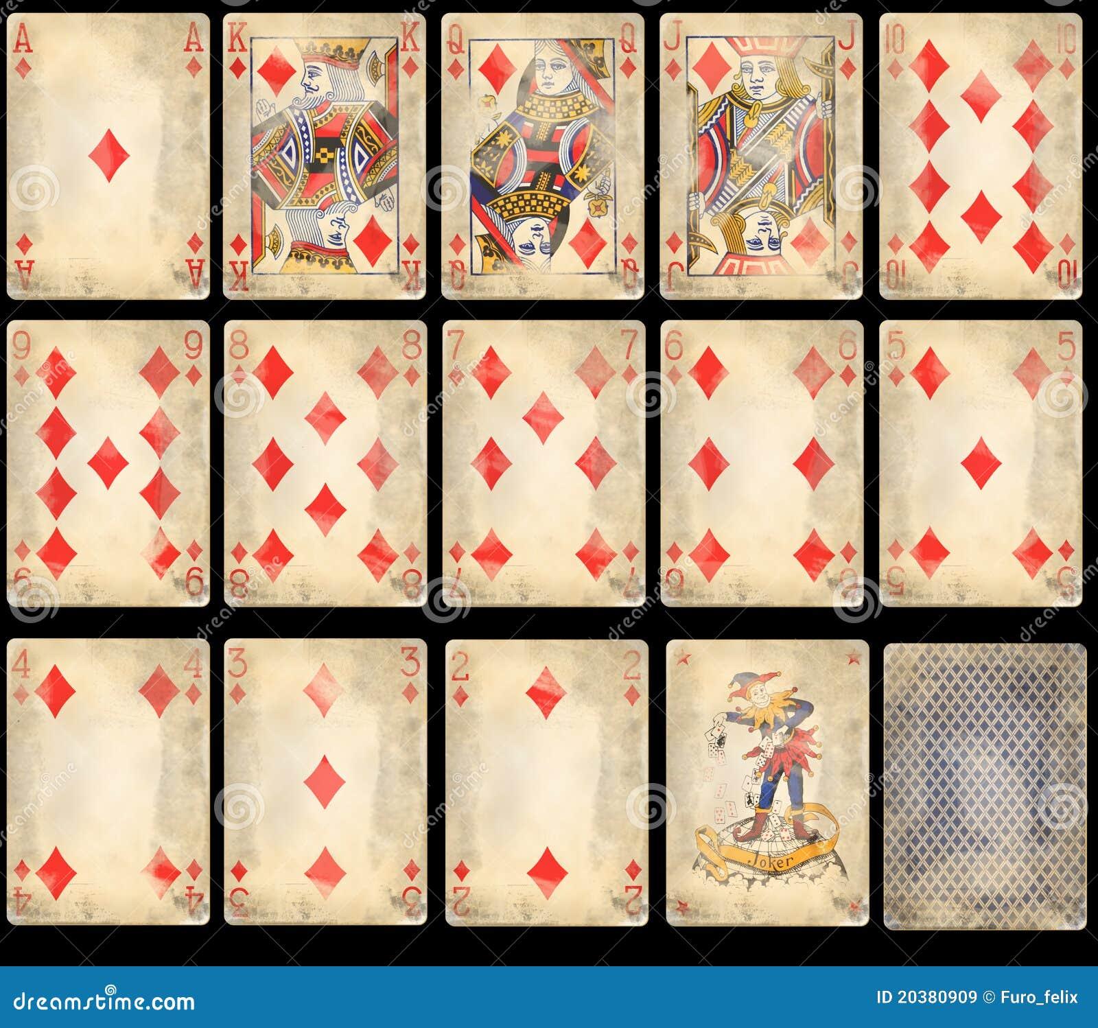 Vieilles cartes de jeu de tisonnier - diamants