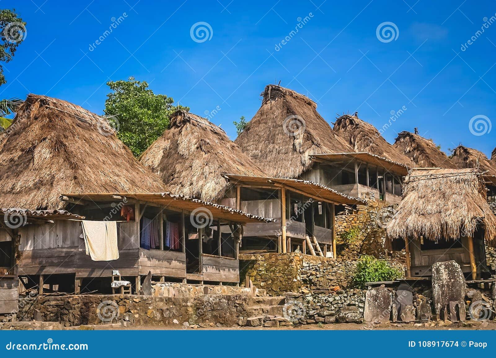 Vieilles huttes en bois dans le village de Bena