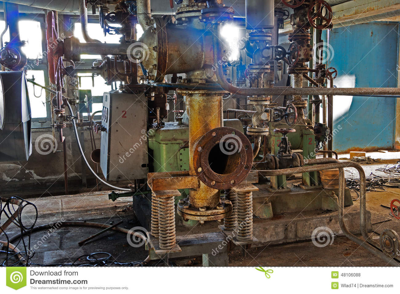 Vieilles machines d 39 usine abandonn e de l 39 int rieur photo for Interieur usine