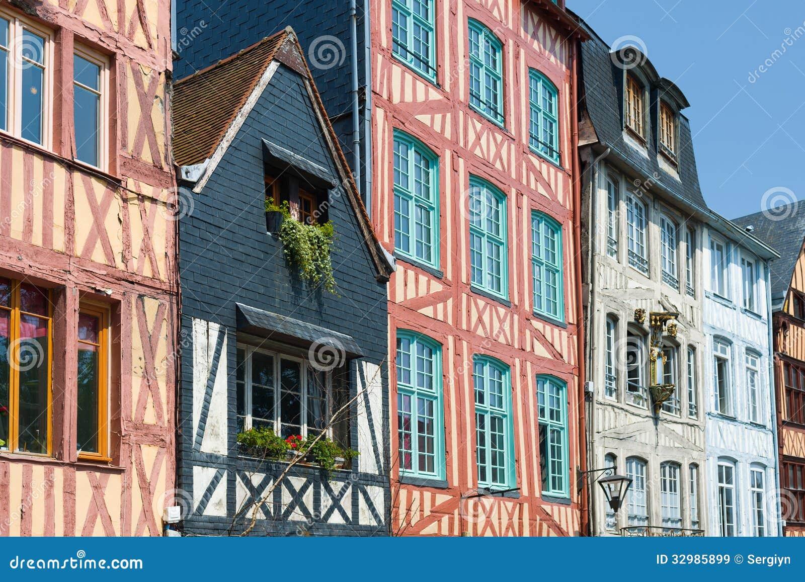 vieilles maisons 224 rouen images libres de droits image 32985899