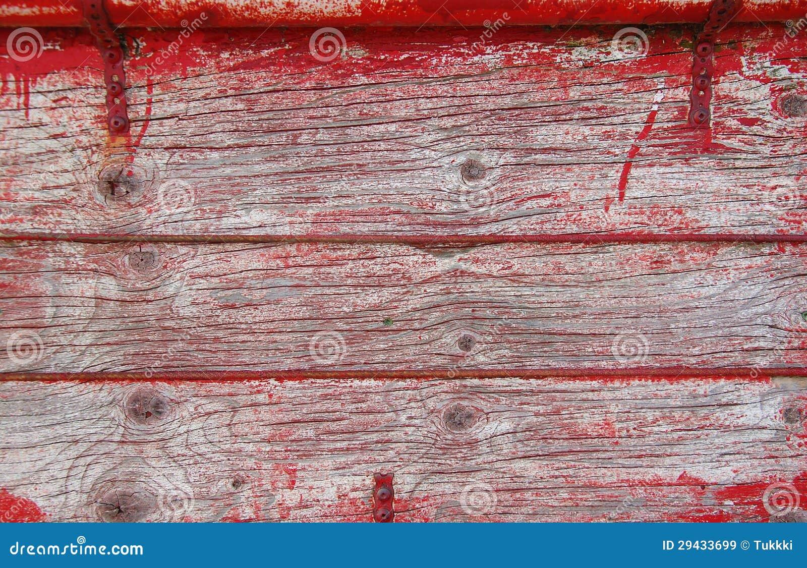 Vieilles planches en bois avec des traces de peinture rouge images libres de - Vieille planche de bois ...