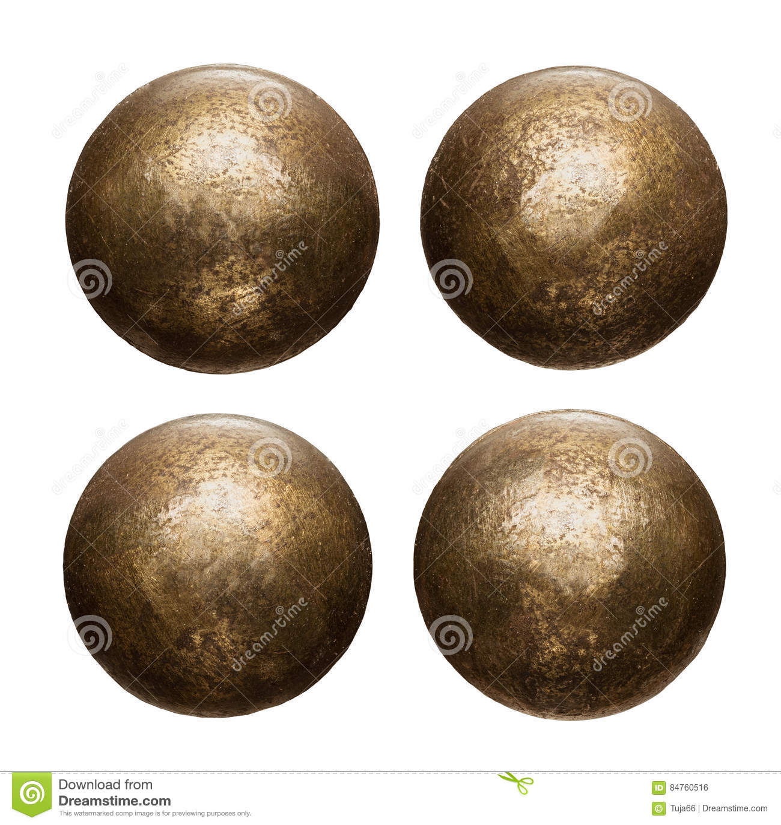 Vieilles têtes de rivet en métal