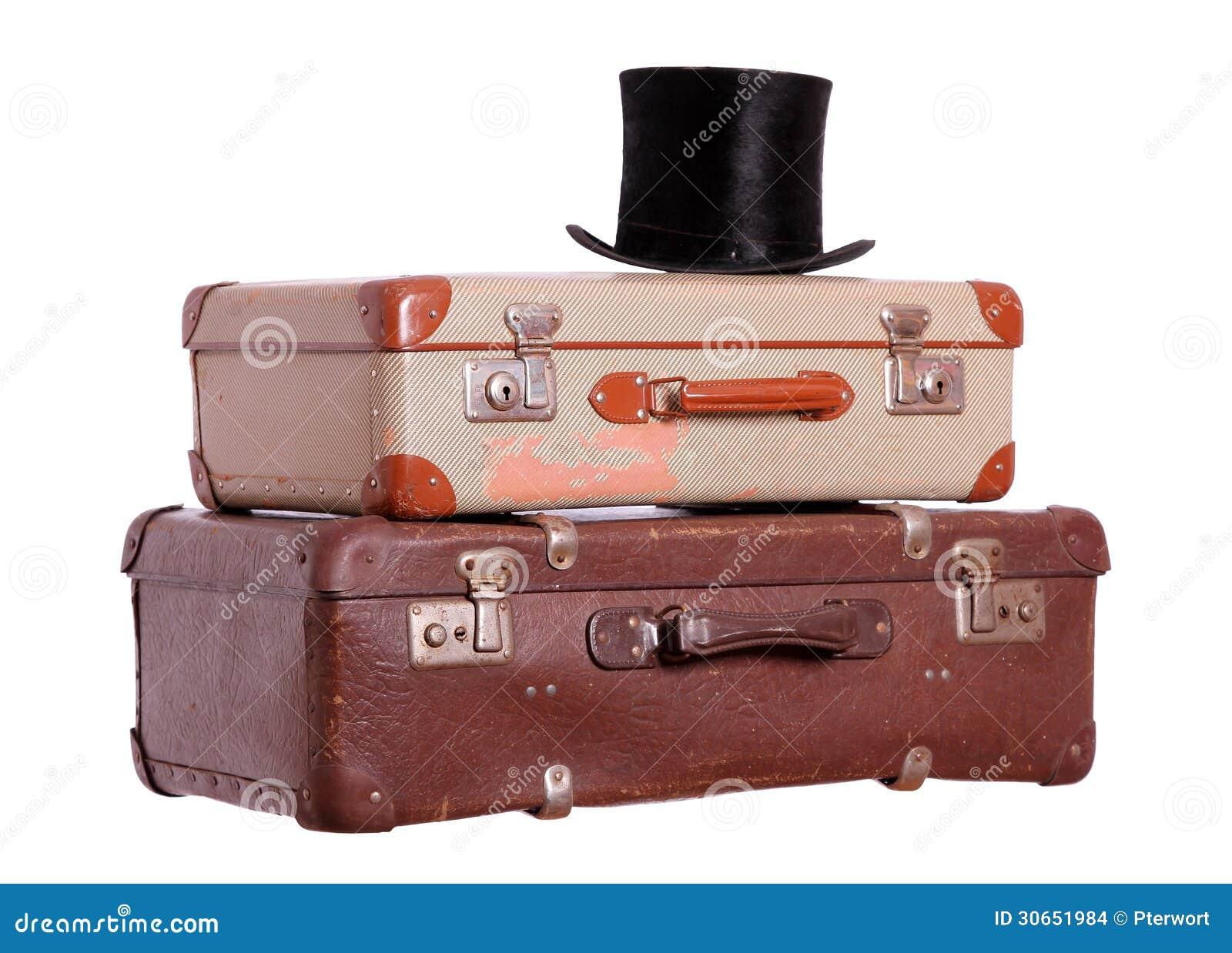 vieilles valises avec le chapeau noir photo stock image. Black Bedroom Furniture Sets. Home Design Ideas