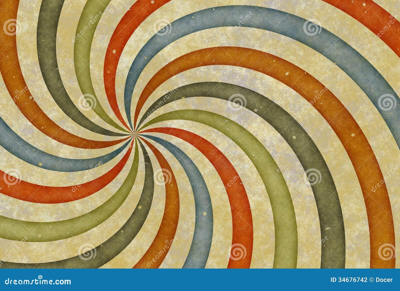 Vieja imagen del dibujo del vintage con las rayas del rizo - Papel de pared de rayas ...