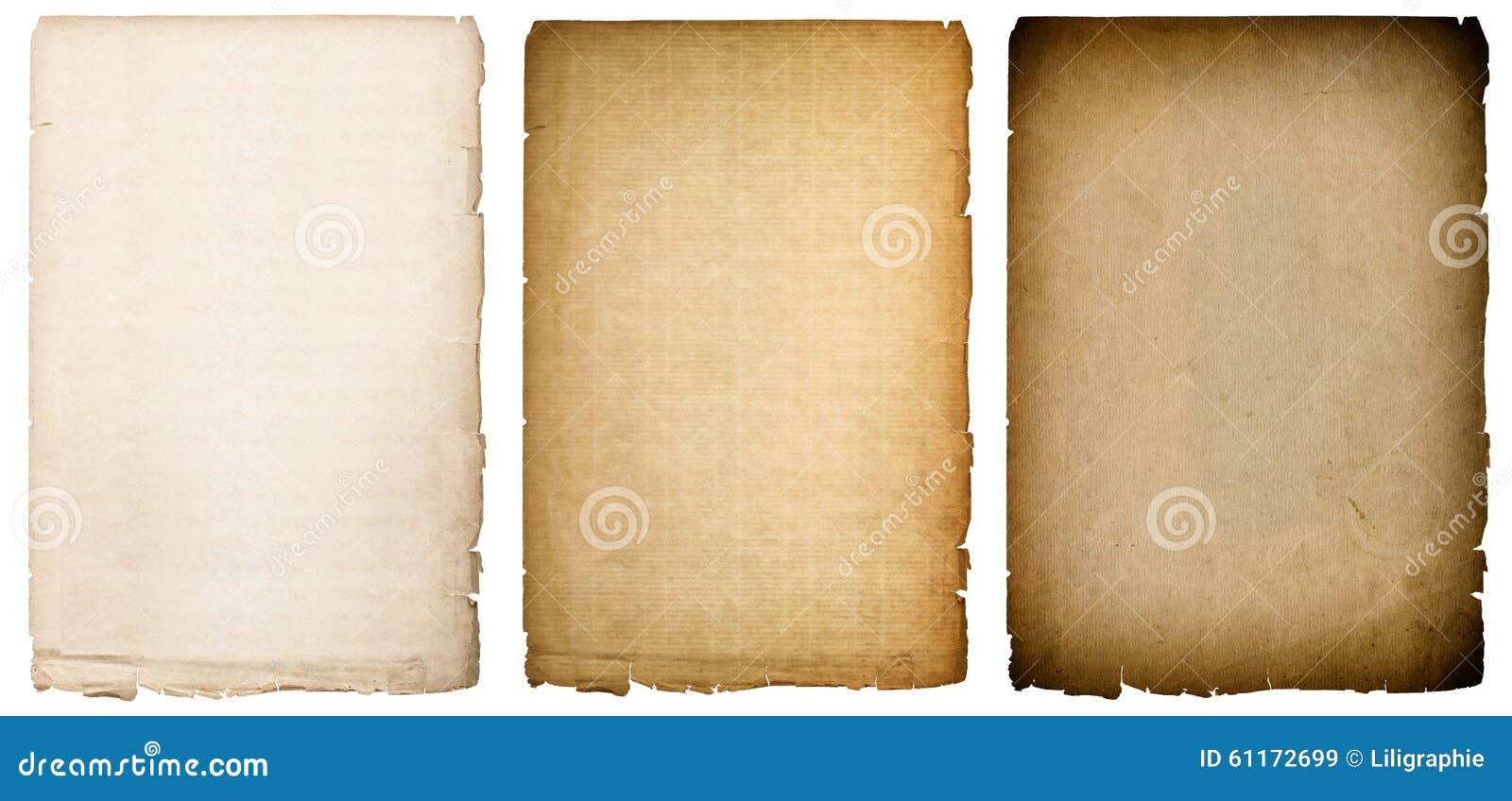 Vieja textura de papel de las hojas con los bordes oscuros Fondo de la vendimia