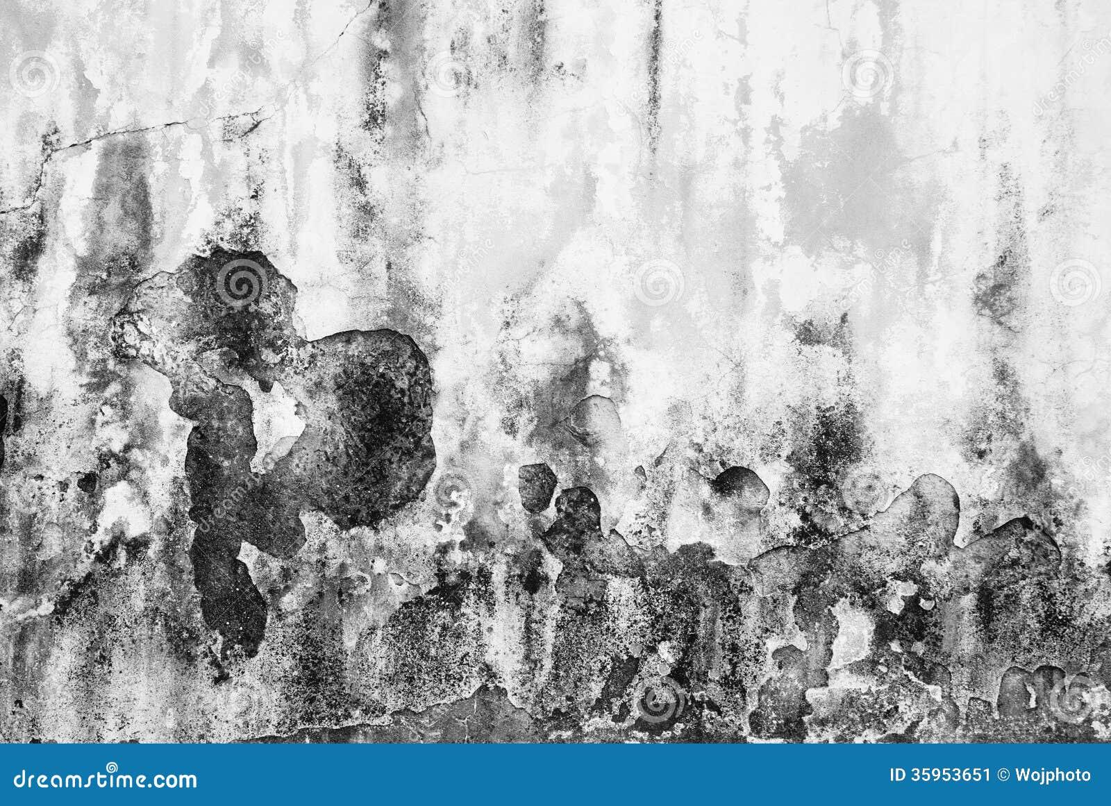 Vieja textura sucia y formada escamas de la pared en blanco y negro