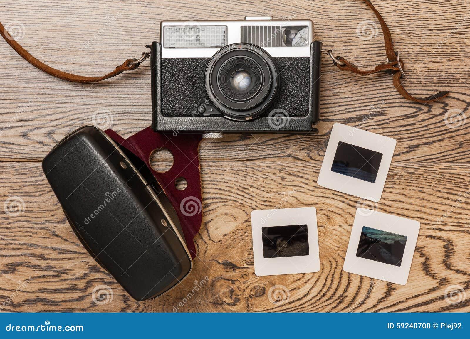 Viejas cámara y diapositivas de la película