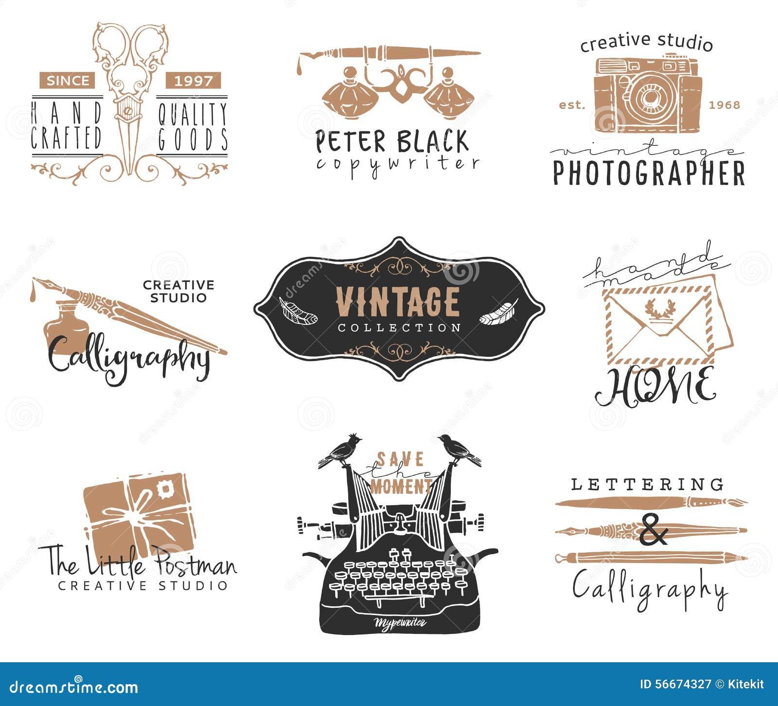 Viejas Plantillas Dibujadas Mano Del Logotipo De Los Efectos De ...