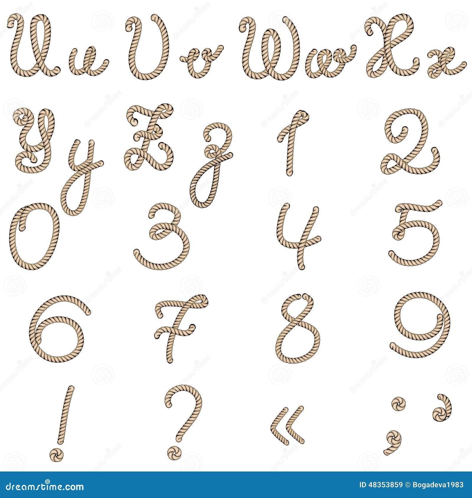 Viejo alfabeto de la cuerda de u a z