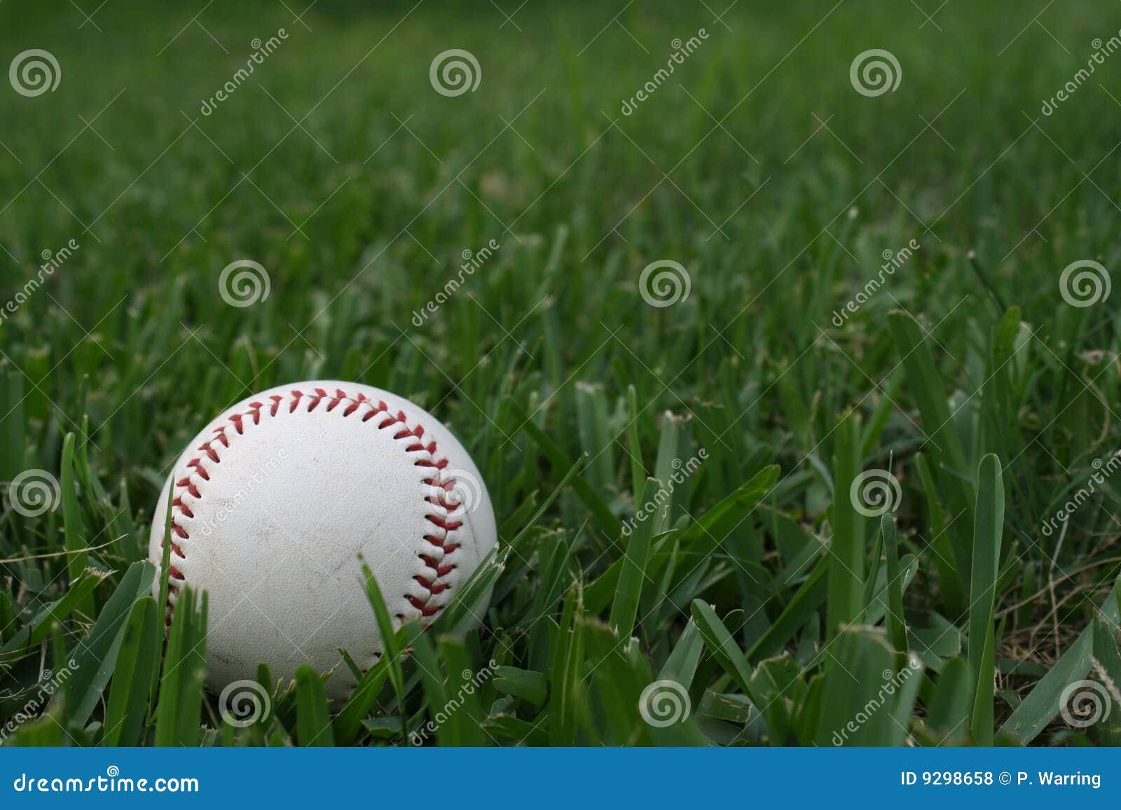 Viejo béisbol en la hierba verde