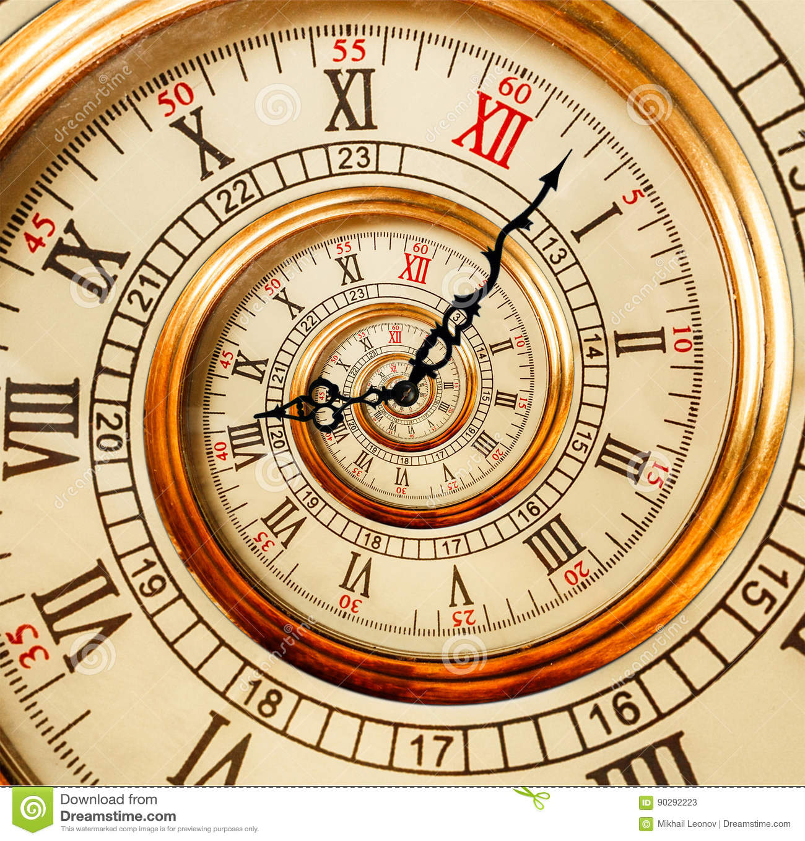 Viejo espiral antiguo del fractal del extracto del reloj Reloj a inusual del reloj