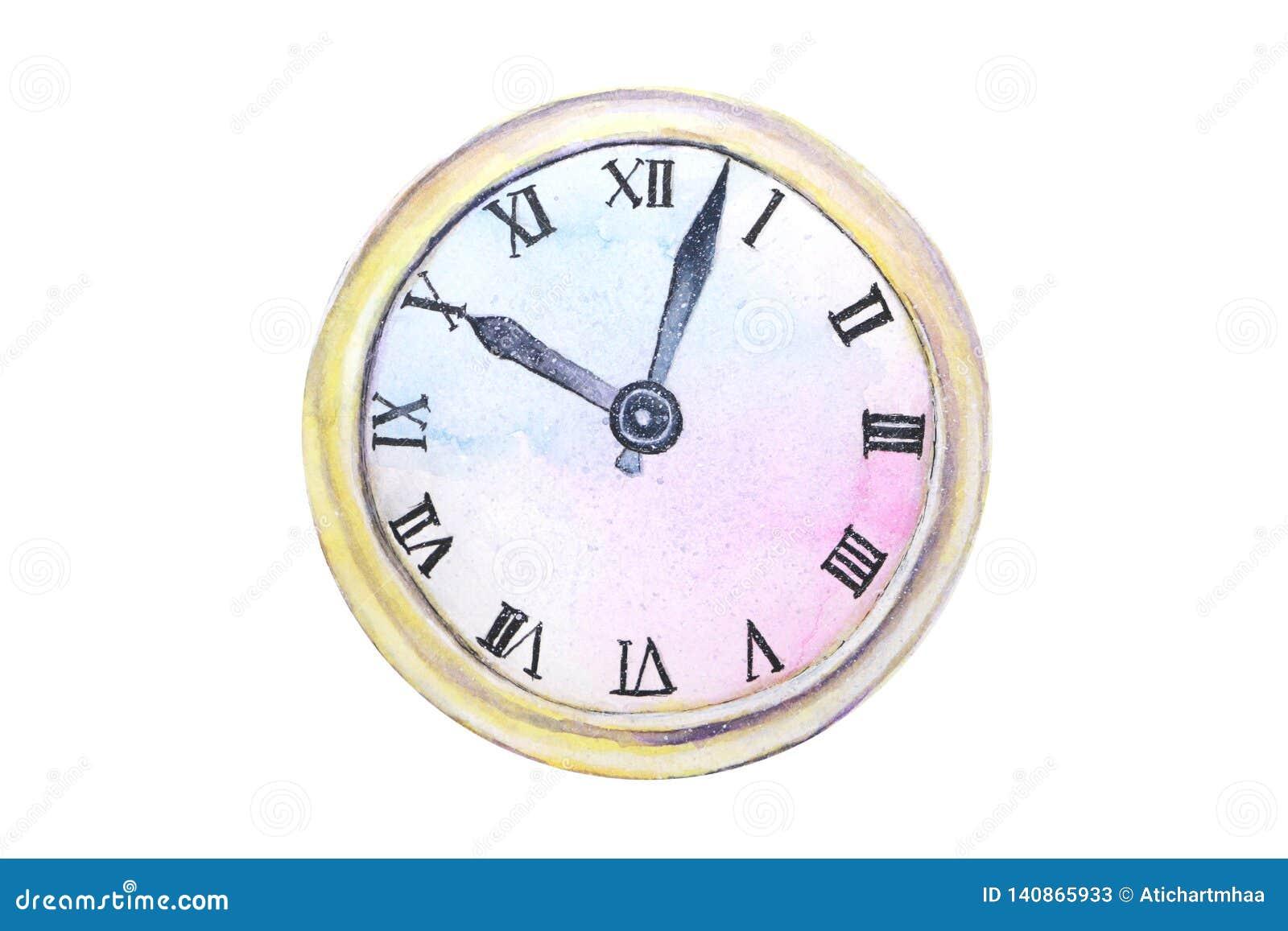 Viejo extracto del reloj de la acuarela aislado en el fondo blanco