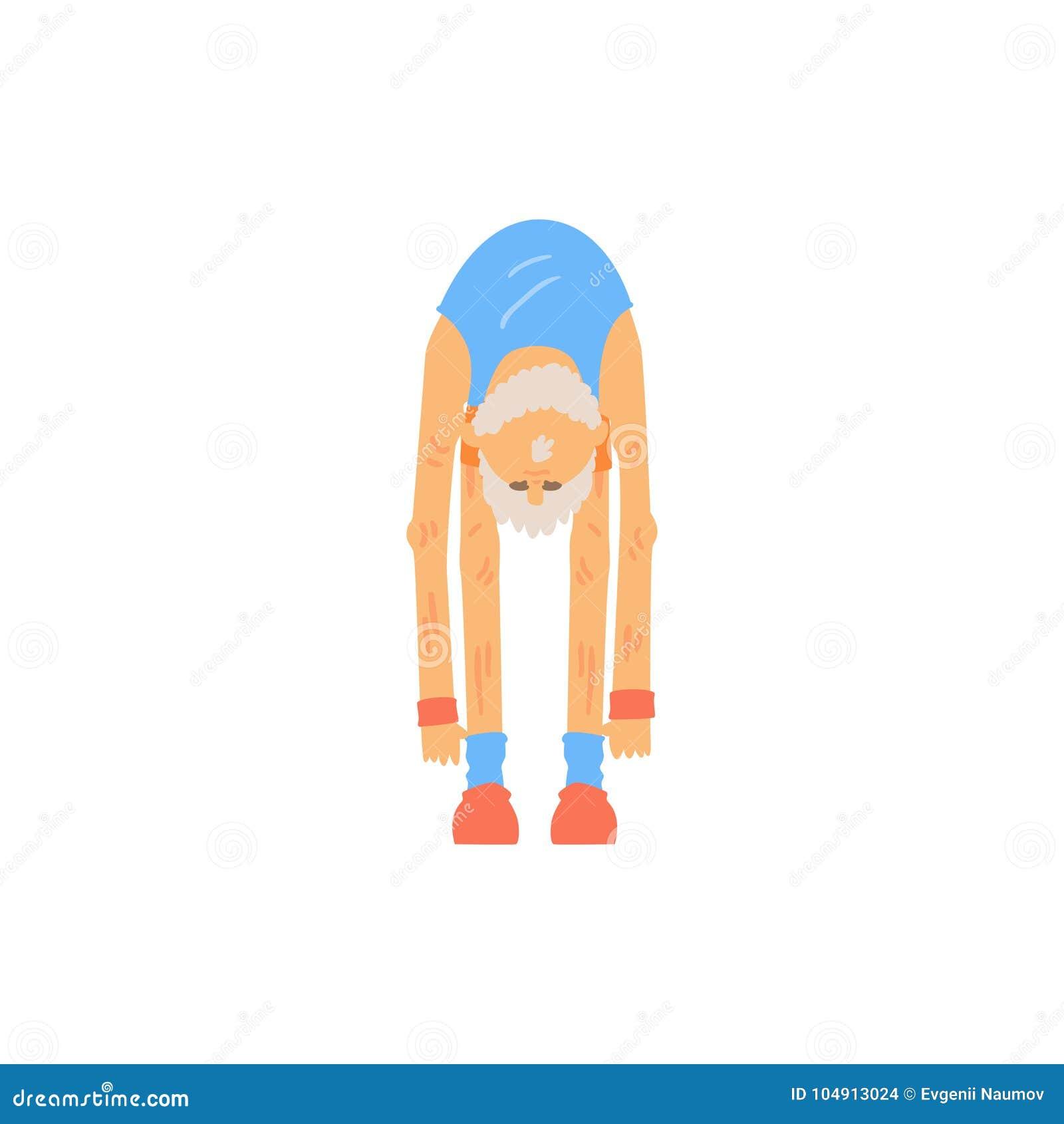 Viejo hombre barbudo que hace el tacto del dedo del pie que estira ejercicio Carácter de abuelo atlético en desgaste de los depor