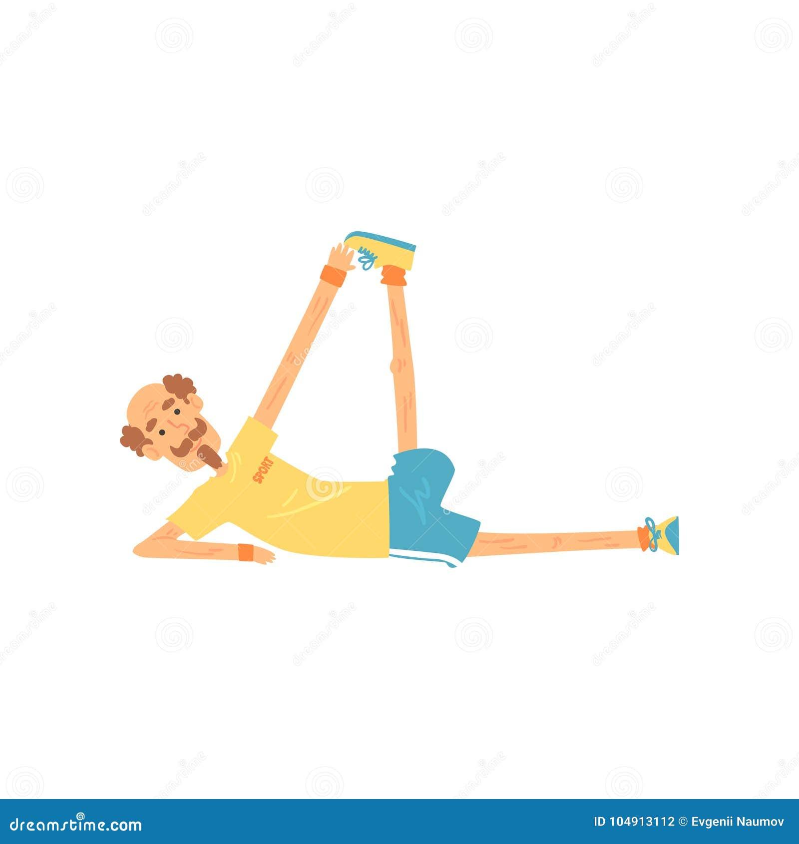 Viejo hombre enérgico que miente en lado y que hace estirar Ejercicio mayor de la gimnasia de la persona antes de entrenar Varón