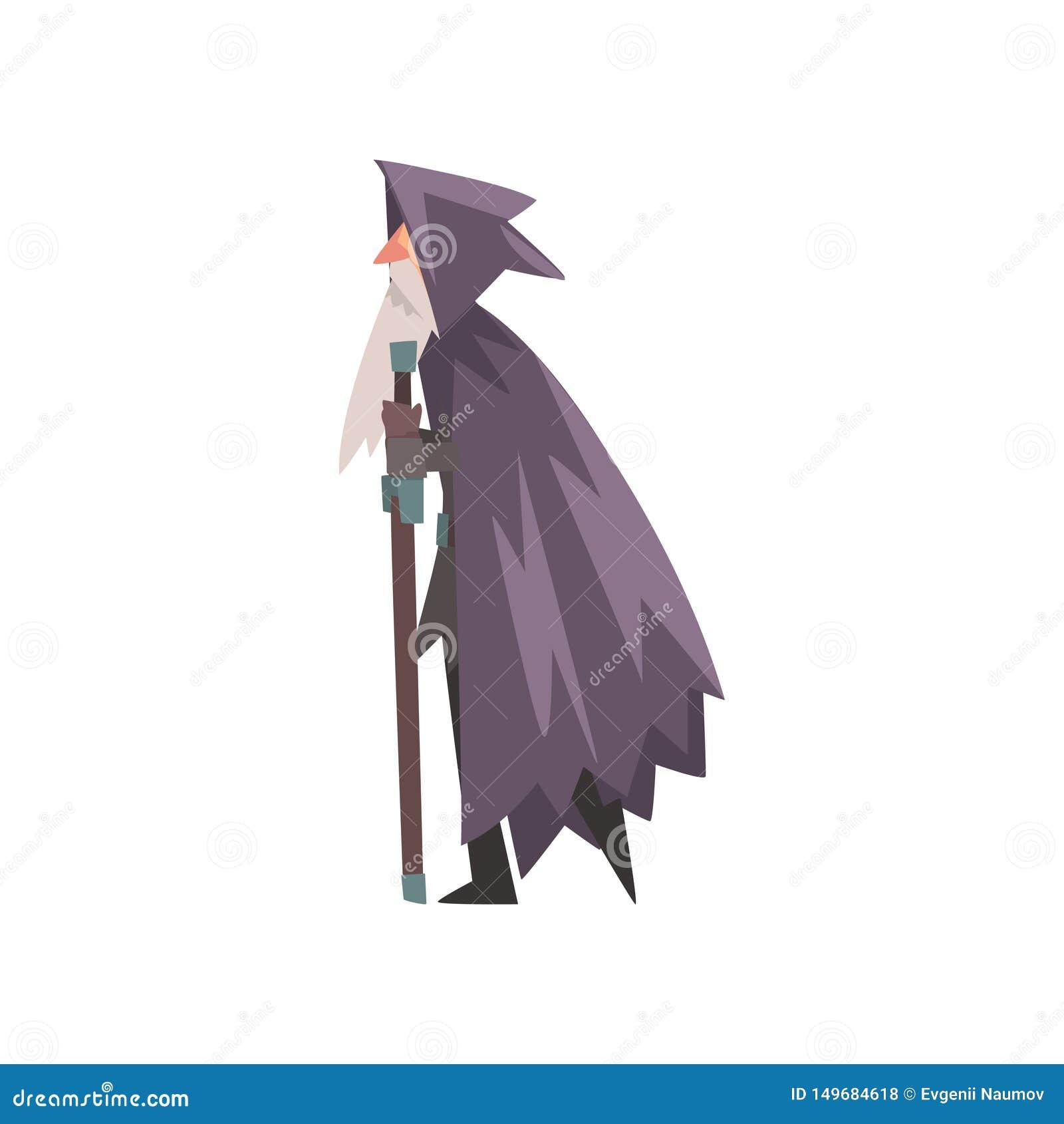 Viejo mago, personaje de dibujos animados histórico medieval en el ejemplo tradicional del vector del traje