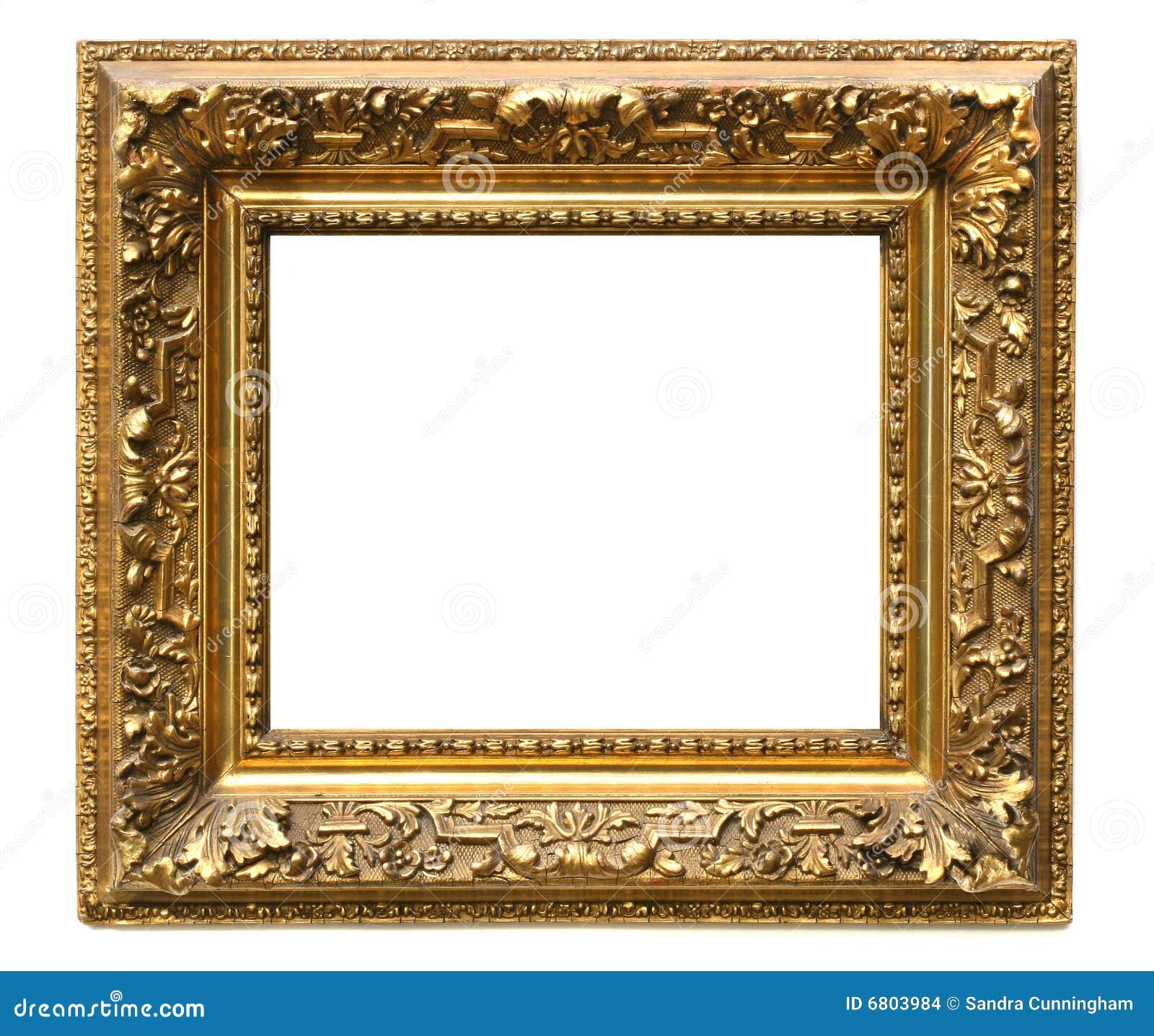Viejo marco dorado agrietado en blanco imagenes de archivo - Marcos dorados para cuadros ...
