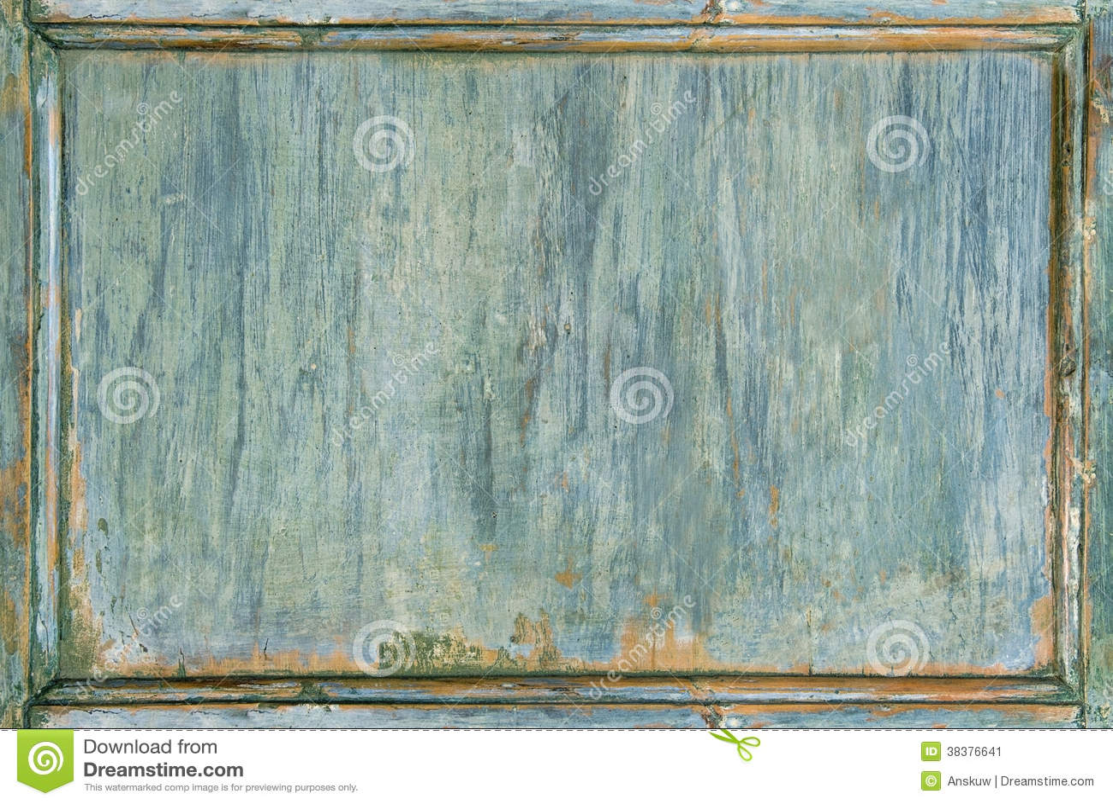 Viejo marco verde pintado de madera