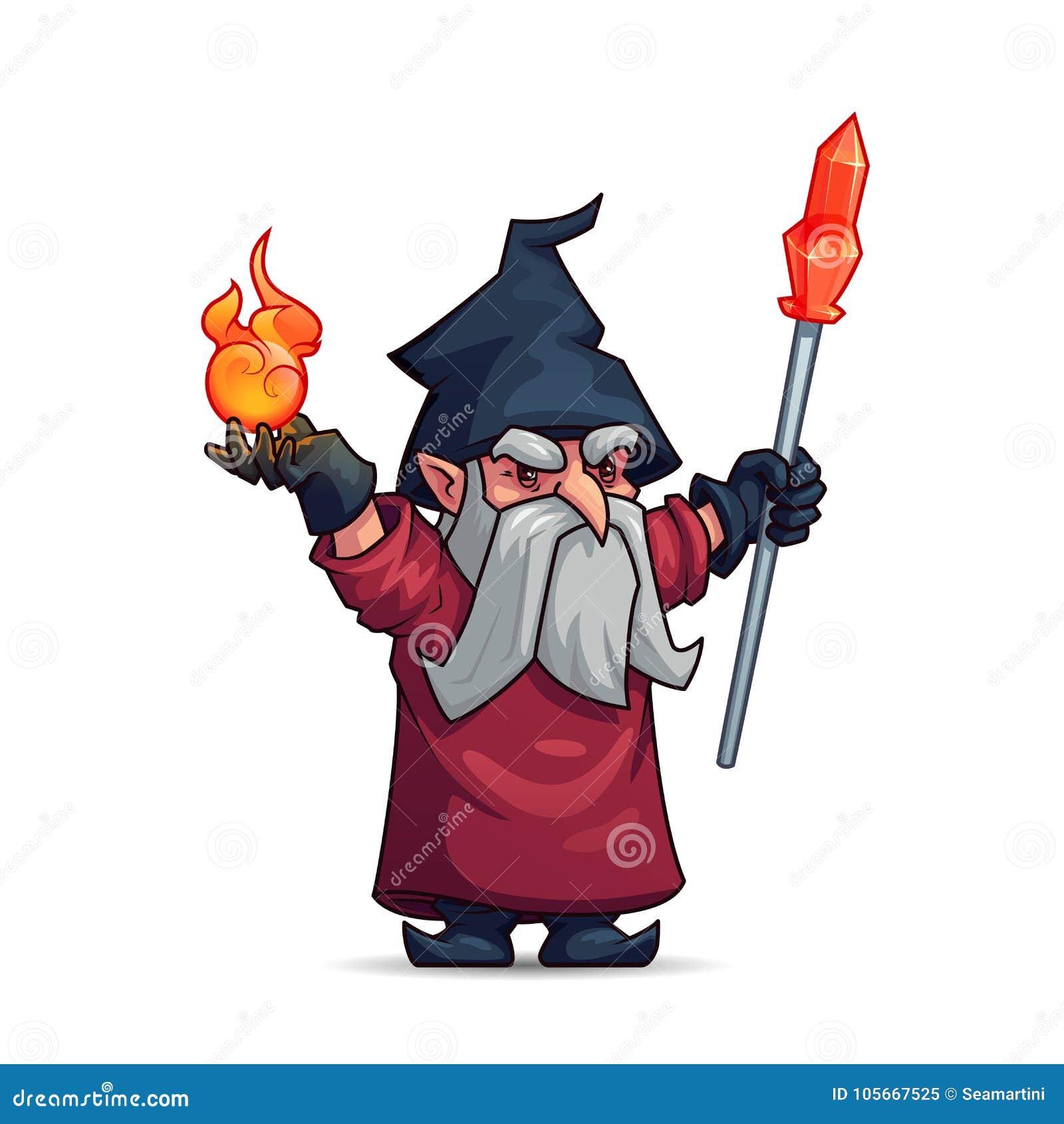 Viejo personaje de dibujos animados del mago, del hechicero o del mago