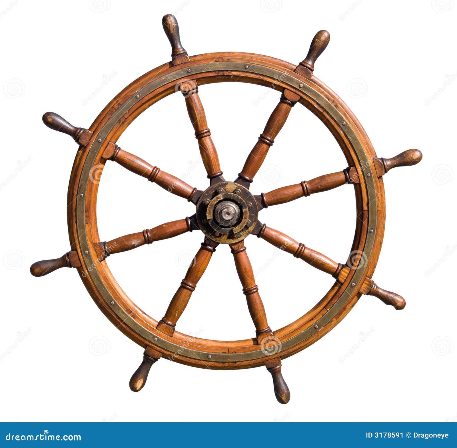 Viejo recorte del volante del barco