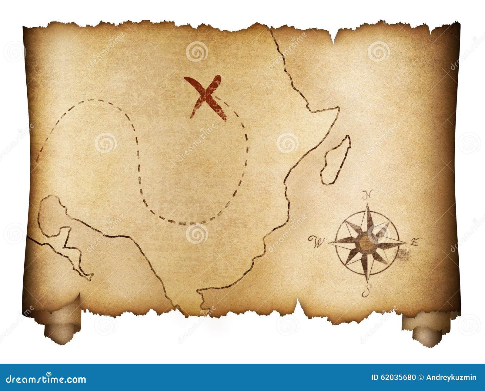 Viejo Rollo Del Mapa Del Tesoro De Los Piratas Aislado