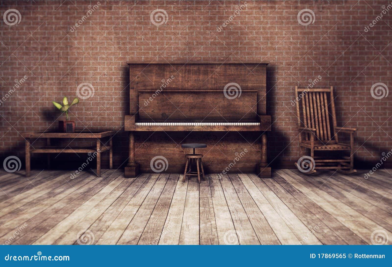 Viejo sitio con el fondo del piano
