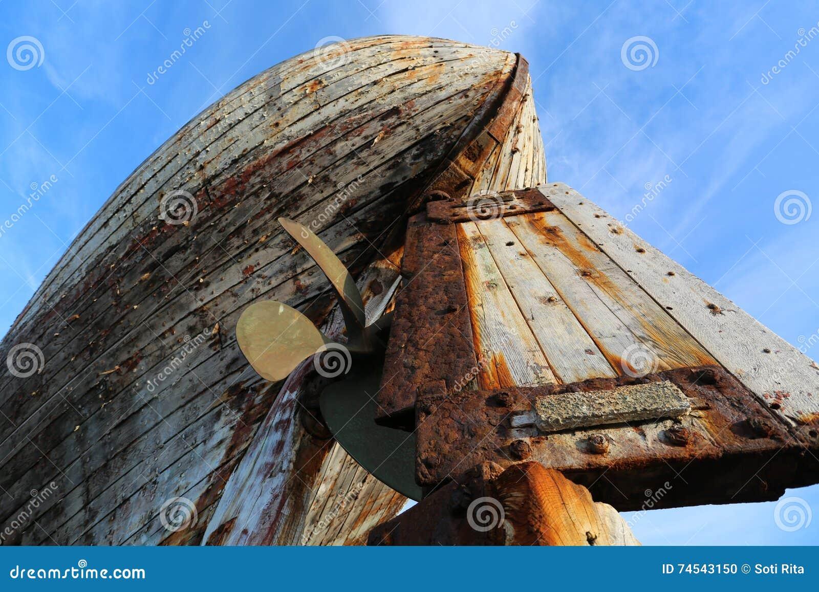 Viejos akranes de madera Islandia del barco de pesca