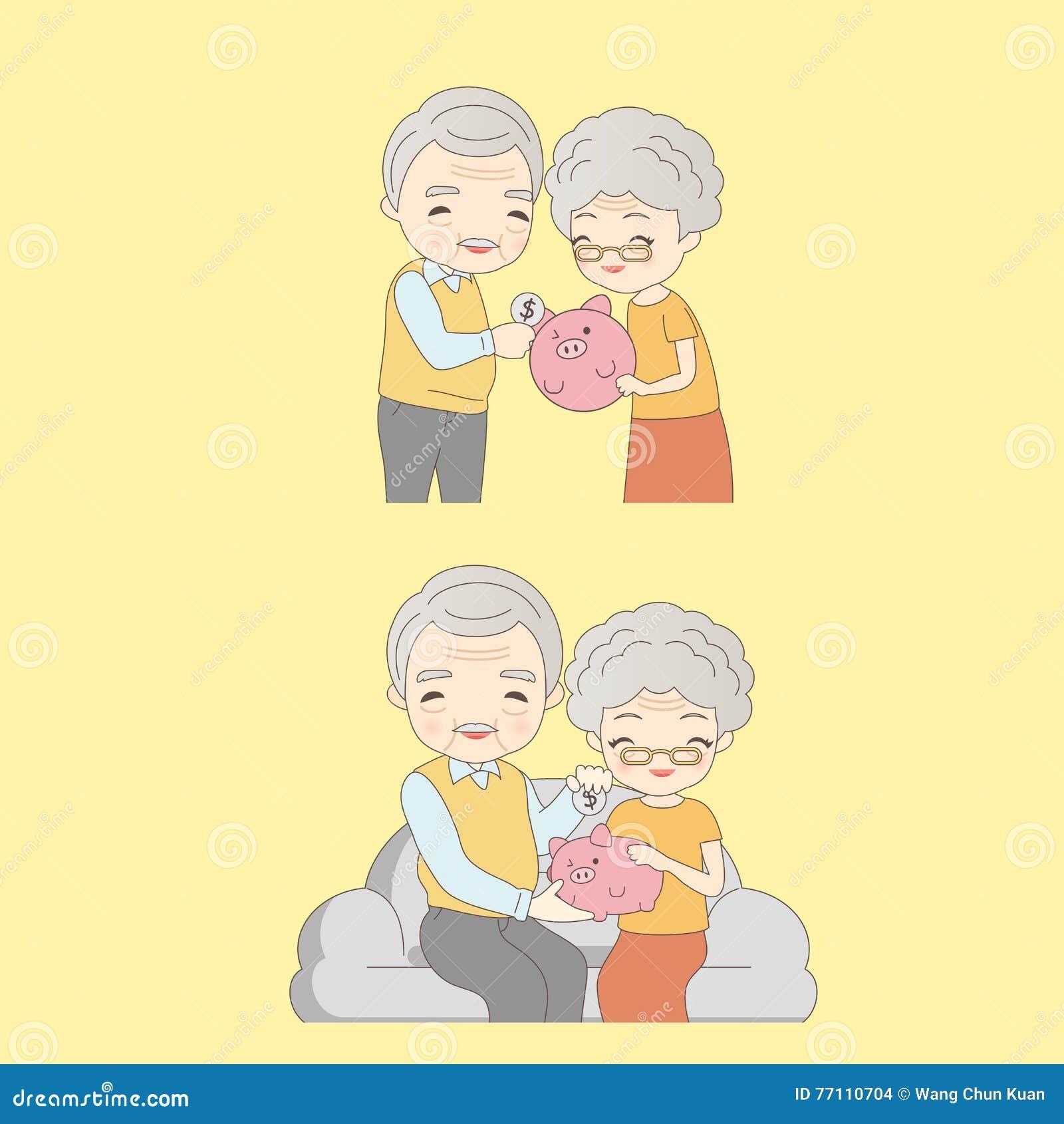 Abuelos Guarros viejos pares con guarro rosado ilustración del vector