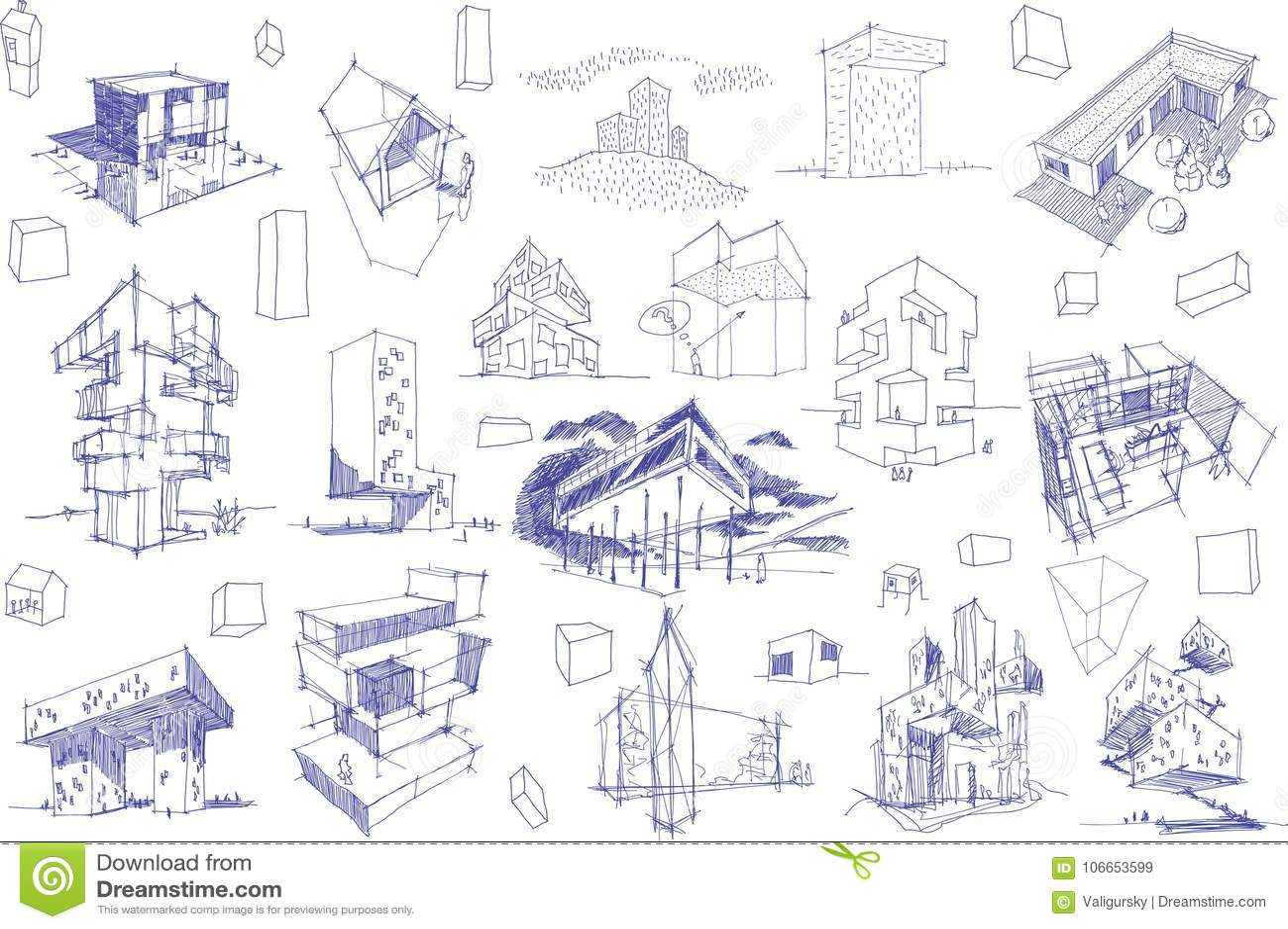 Download Viele Architekturskizzen Einer Modernen Abstrakten Architektur Und Der Geometrischen Gegenstande Vektor Abbildung