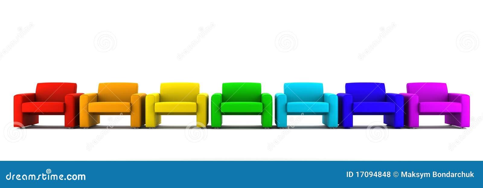 Viele Farbenlehnsessel getrennt auf Weiß